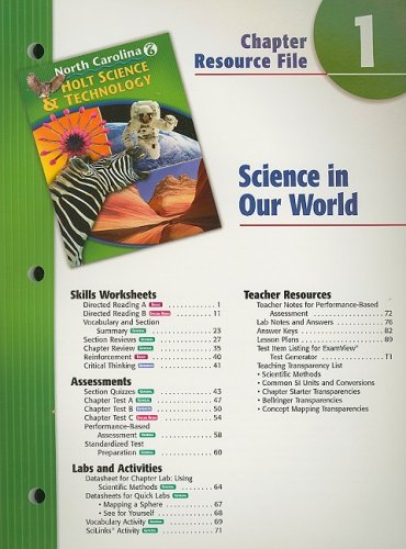 9780030364792: Holt Science & Technology North Carolina: Chapter Resource File, Chapter 1 Grade 6 Science In Our World