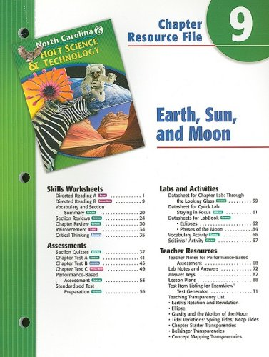 9780030364891: North Carolina Holt Science & Technology Chapter 9 Resource File: Earth, Sun, and Moon: Grade 6