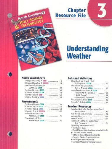 9780030365096: North Carolina Holt Science & Technology Chapter 3 Resource File: Understanding Weather