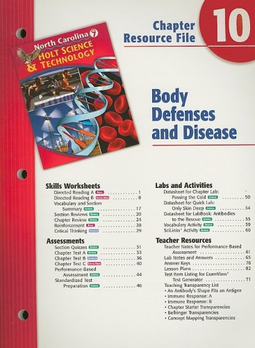 9780030365188: North Carolina Holt Science & Technology Chapter 10 Resource File: Body Defenses and Disease: Grade 7