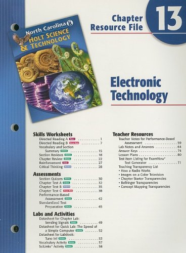 9780030365546: North Carolina Holt Science & Technology Chapter 13 Resource File: Electronic Technology, Grade 8
