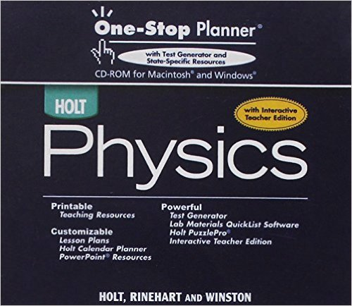 9780030368479: Holt Physics: One-Stop Planner With Test Generator and State-Specific Resources