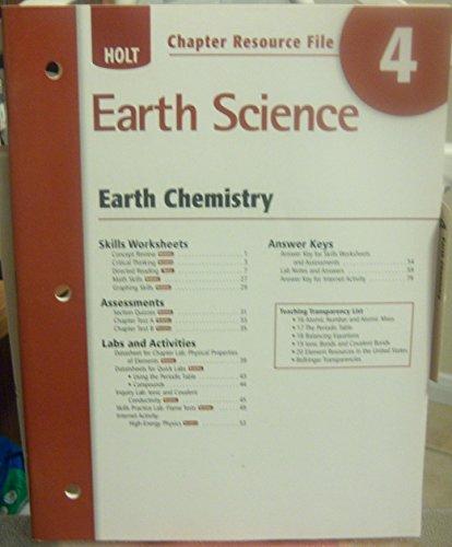 Chapter Resource File 4 Earth Chemistry Holt: Winston, Holt Rinehart