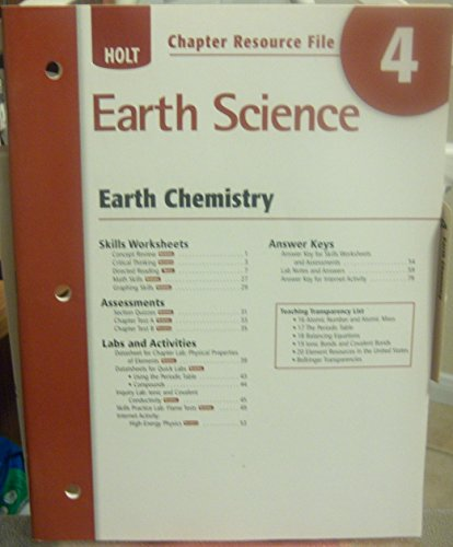 9780030368943: Chapter Resource File 4 Earth Chemistry Holt Earth Science 2006