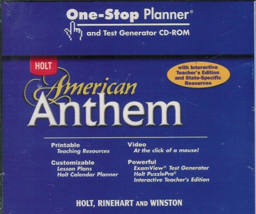 American Anthem: One-Stop Planner CD-ROM with Test: HOLT, RINEHART AND