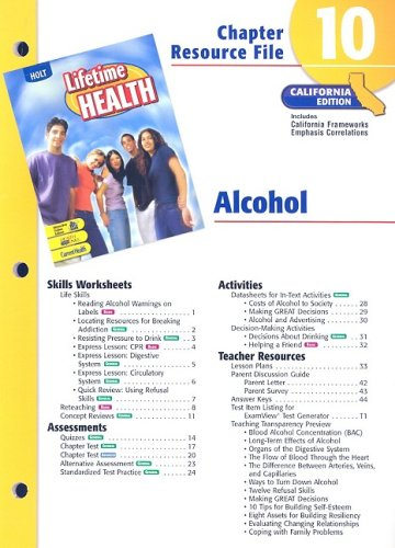 9780030381744: California Lifetime Health Chapter 10 Resource File: Alcohol
