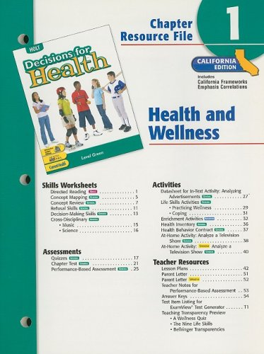 9780030382048: Holt Decisions for Health Chapter 1 Resource File: Health and Wellness: Level Green