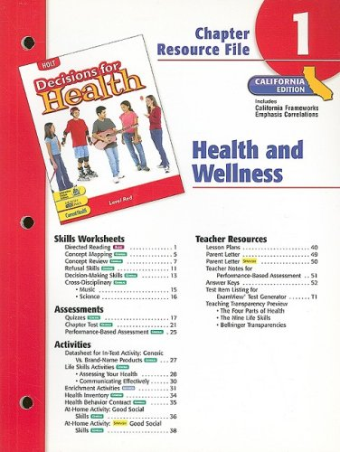 9780030382260: Holt Decisions for Health Chapter 1 Resource File, California Edition: Health and Wellness