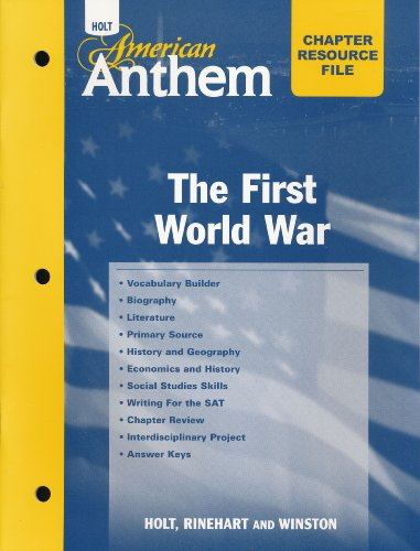 9780030384127: American Anthem: Chapter Resource File with Answer Key The First World War