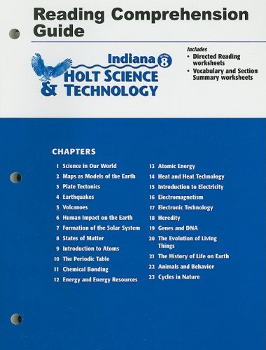 9780030389726: Holt Science and Technology Indiana: Reading Comprehension Guide Grade 8