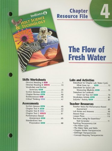 9780030389931: Indiana Holt Science & Technology Chapter 4 Resource File: The Flow of Fresh Water: Grade 6