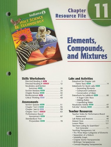 9780030390029: Indiana Holt Science & Technology Chapter 11 Resource File: Elements, Compounds, and Mixtures: Grade 6