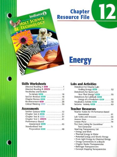 9780030390036: Indiana Holt Science & Technology Chapter 12 Resource File: Energy: Grade 6