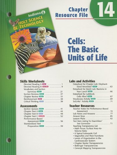 9780030390067: Holt Science & Technology Indiana Grade 6 Chapter 14 Resource File: Cells: The Basic Units of Life