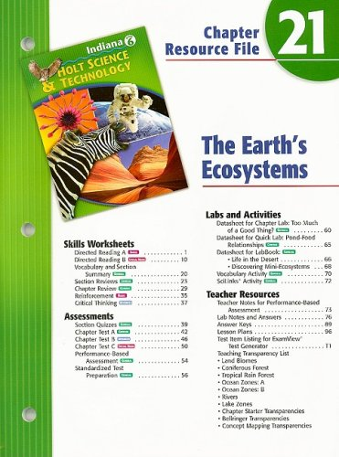 9780030390142: Indiana Holt Science & Technology Chapter 21 Resource File: The Earth's Ecosystems