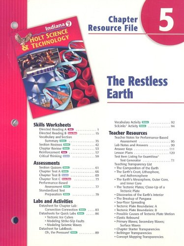 9780030390210: Indiana Holt Science & Technology Chapter 5 Resource File: The Restless Earth