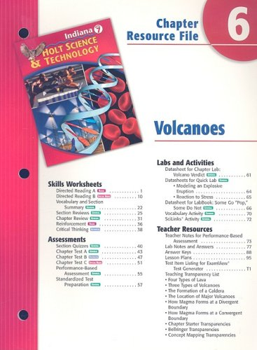 9780030390227: Indiana Science & Technology Chapter 6 Resource File: Volcanoes