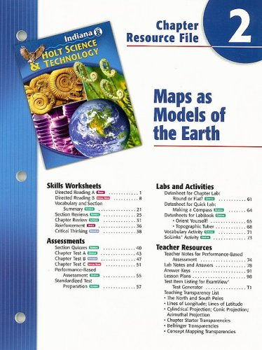 9780030390463: Indiana Holt Science & Technology Chapter 2 Resource File: Maps as Models of the Earth: Grade 8
