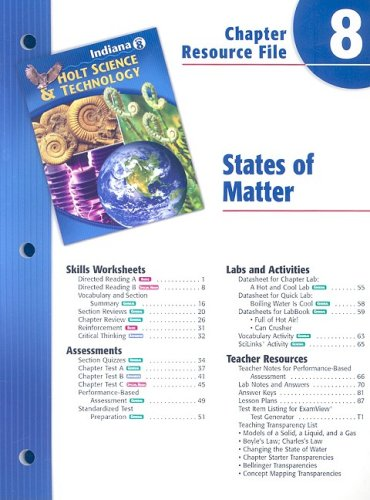 Indiana Holt Science & Technology Chapter 8 Resource File: States of Matter: Holt, Rinehart, ...
