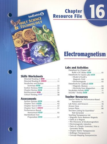 9780030390630: Indiana Holt Science & Technology Chapter 16 Resource File: Electromagnetism