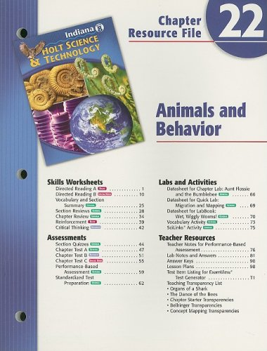 9780030390715: Indiana Holt Science & Technology Chapter 22 Resource File, Grade 8: Animals and Behavior
