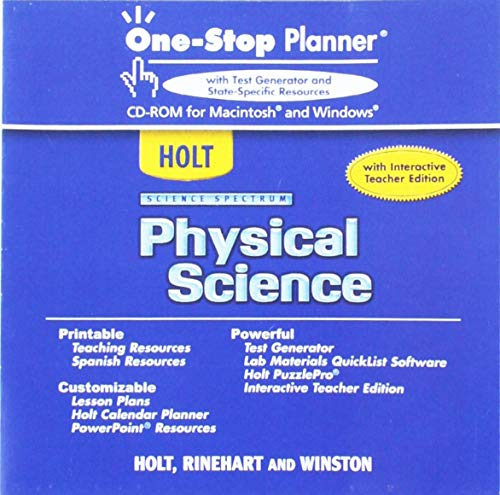 9780030396342: Holt Science Spectrum: Physical Science: One-Stop Planner With Test Generator and State-Specific Resources CD-ROM