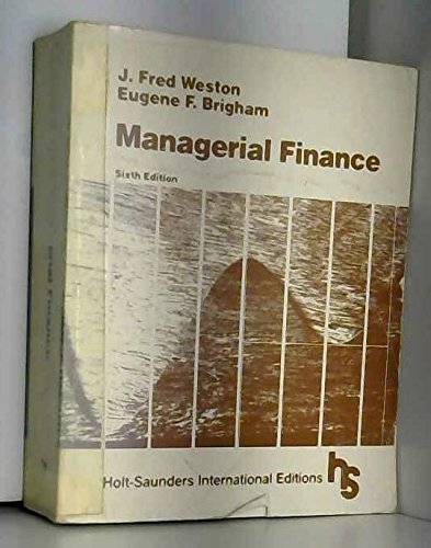 Managerial Finance: J. Fred Weston,