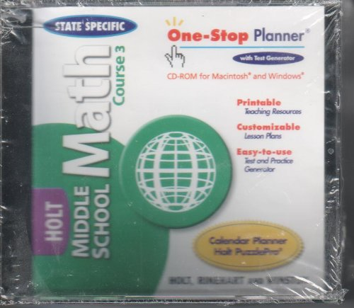Middle School Math, Course 3: State-Specific One-Stop Planner With Test Generator On CD-ROM (2004 ...