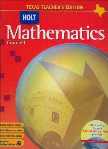 9780030411533: Holt Mathematics Course 1 Texas Teacher's Edition