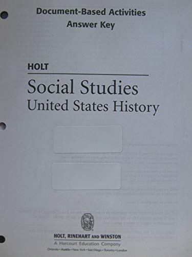 9780030412387: Document-Based Activities Answer Key Holt Social Studies: United States History