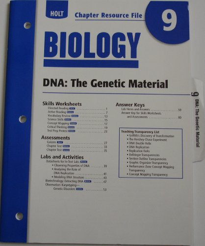 9780030413735: Holt Biology: DNA- The Genetic Material- Chapter Resource, No. 9