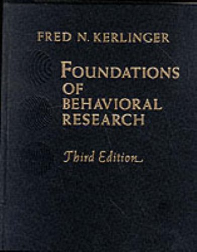 9780030417610: FOUNDATIONS BEHAV RESEARCH 3/E
