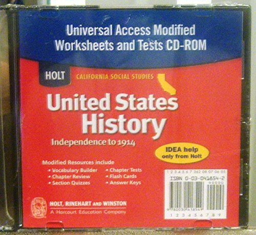 9780030418549: United States History Universal Access Modified Worksheets CD-ROM (California Social Studies, Independence to 1914)