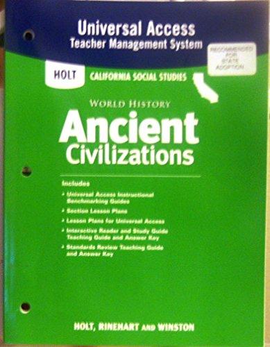 9780030420870: Holt World History California: Universal Access Teacher Management Grades 6-8 Ancient Civilizations