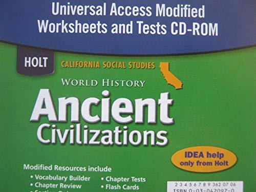 9780030420979: Holt World History California: Universal Worksheets/Test CD-ROM Grades 6-8 Ancient Civilizations