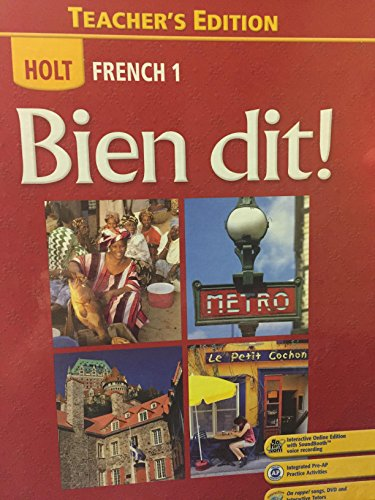 9780030422232: Holt French 1: Bien dit! Teacher's Edition (2 Volumes)