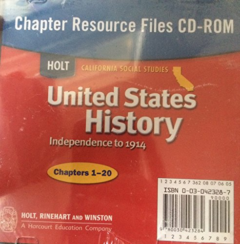 9780030423284: United States History Chapter Resource Files CD-ROM (California Social Studies, Independence to 1914)