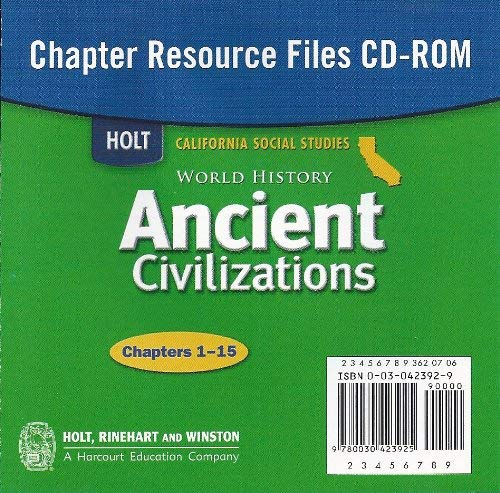 9780030423925: Holt World History California: Chapter Resources Filers CD-ROM Grades 6-8 Ancient Civilizations