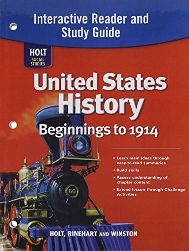 9780030426544: United States History: Beginnings to 1914, Intractive Reader amd Study Guide (Holt Social Studies)