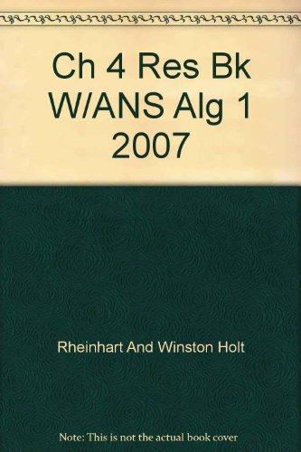 9780030427572: Holt Algebra 1: Chapter 4 Resource Book