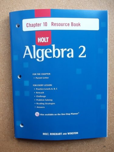 9780030428180: Holt Algebra 2: Resource Book with Answers: Chapter 10