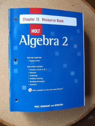 9780030428234: Holt Algebra 2: Resource Book with Answers: Chapter 13