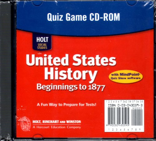 9780030430596: Holt Social Studies: United States History: Beginnings to 1877: Quiz Game CD-ROM