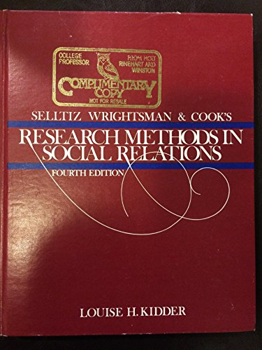 9780030435669: Selltiz, Wrightsman, and Cook's Research methods in social relations