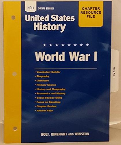9780030435683: Holt United States History: Chapter Resource File - World War 1 Grades 6-9