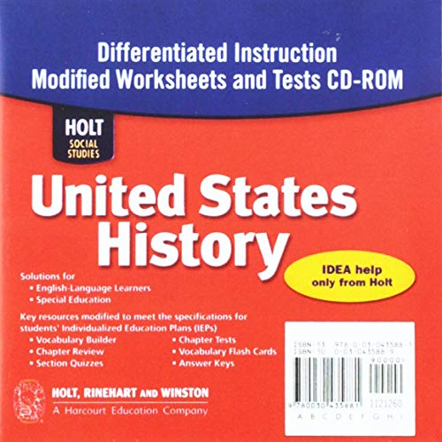9780030435881: Holt Social Studies: United States History - Beginnings to 1877 - Differentiate Instruction Modified Worksheets & Tests CD w/Answer Key