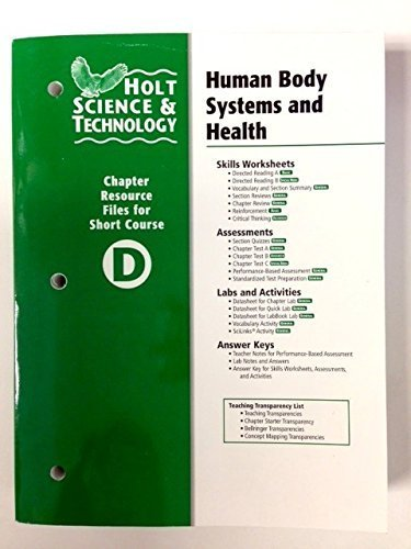 9780030466021: Holt Science & Technology: Chapter Resource File D: Human Body Systems and Health