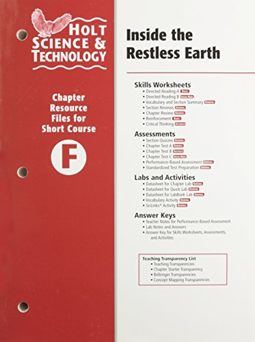 9780030466045: Holt Science & Technology: Inside the Restless Earth, Chapter Resource Files