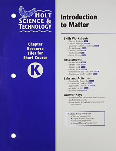 9780030466137: Holt Science & Technology: Chapter Resource File K: Introduction to Matter