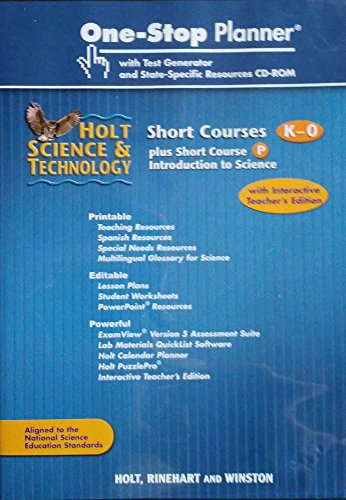 9780030472688: One Stop Planner Physical Science with Test Generator (Holt Science & Technology short Courses, K-O) (Holt Science & Technology short Courses, K-O)